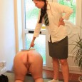 Young and pervert  lezdom mistress caning fat ass female slave at the entrance of her home while she is begging for mercy. READ THIS SITE REVIEW